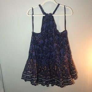 FREE PEOPLE Halter top floral mini dress